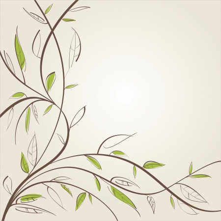 leafage: Stylized willow branch. Vector illustration