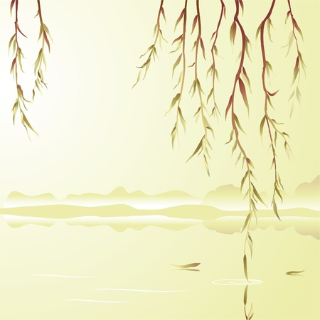 Oriental style painting.  Weeping willow above the water  Vector