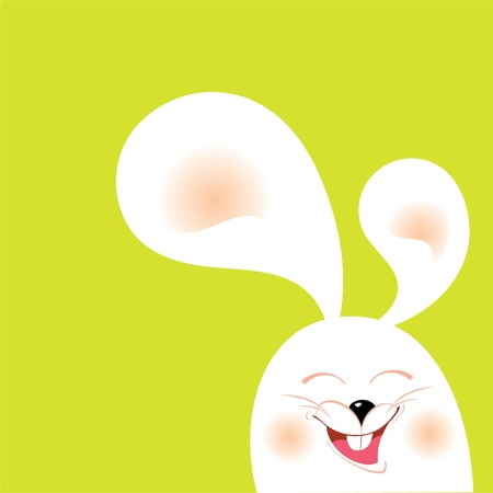 Illustration of white rabbit with green background