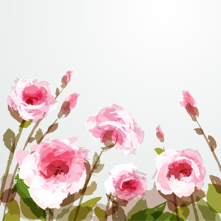 Romantic background with pink roses. EPS 10