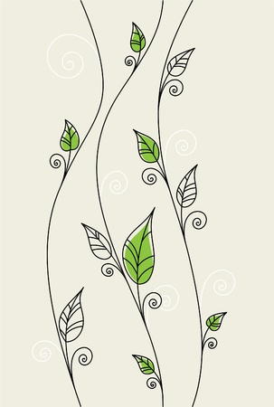 swirly: Vector floral background with green leaves