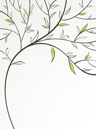 leafage: Stylized spring branch. Vector illustration