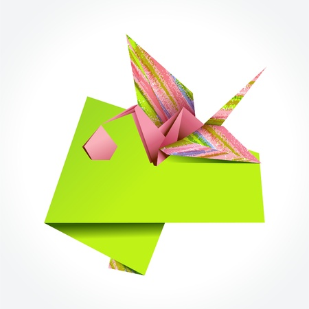 Origami stork delivering girl. EPS10 Vector