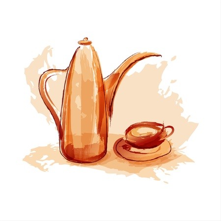 cup of coffee and a coffee pot. Sepia. EPS10 Vector