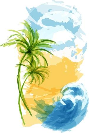 Fondo tropical de verano. EPS10