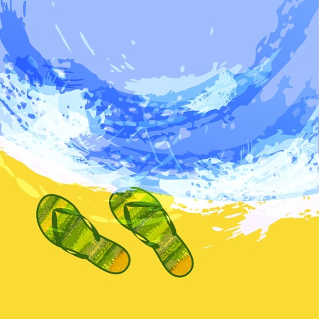 Summer background with slippers on a beach. EPS10 Vector