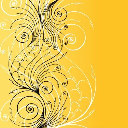 twirls: Stylish floral background for retro design