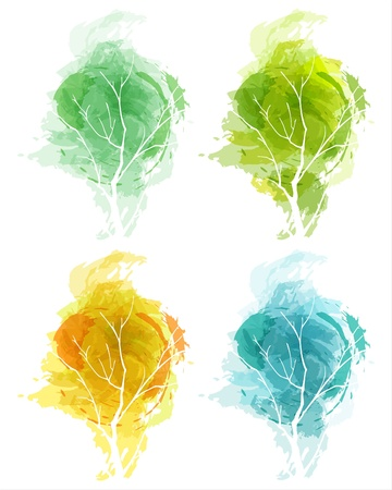 Vector drawn abstract tree in four seasons. EPS10 Stock Vector - 9929682