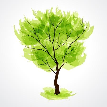 Ilustración vectorial de árbol de verano estilizada. EPS 10