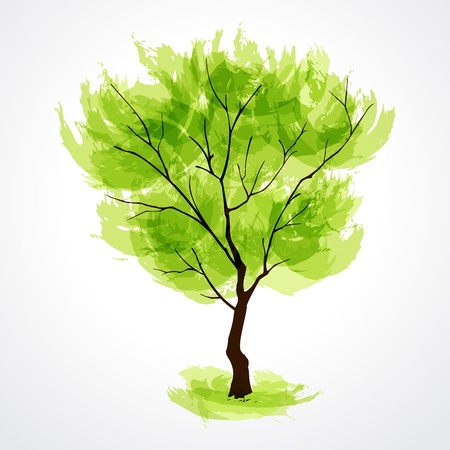 Vector illustration of stylized summer tree. EPS 10