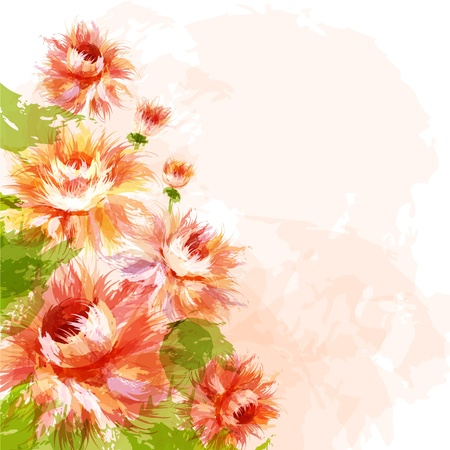 Romantic background with blooming chrysanthemums Vector