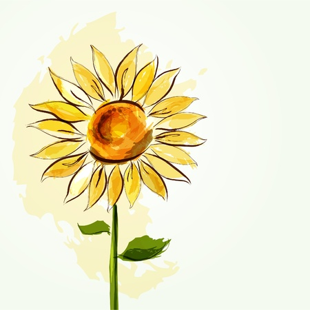 Floral summer background with sunflower Illustration
