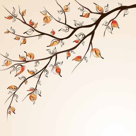 branch tree: Stylized autumn tree branche on bright background