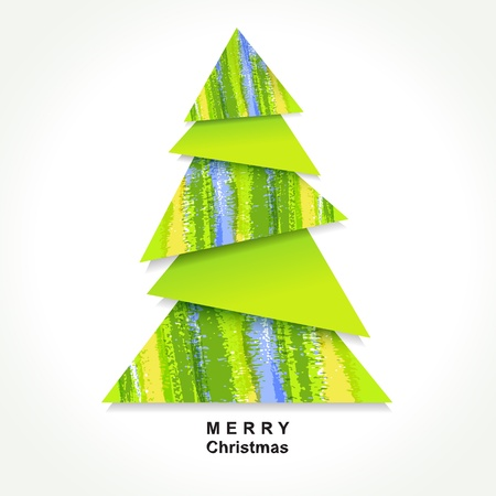 Origami Christmas tree made of pieces of color paper. Stock Vector - 10822313