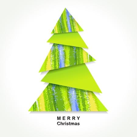 minimal: Origami �rbol de Navidad hecha de pedazos de papel de color.