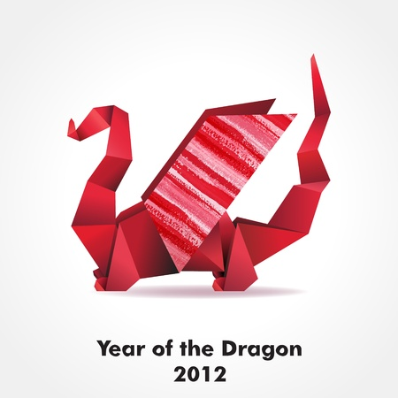Origami dragon made of pieces of red and color paper.