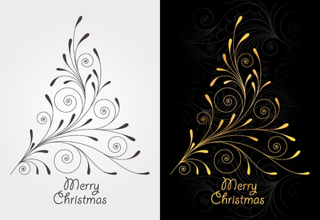 Elegant vintage background with Christmas-tree Vector