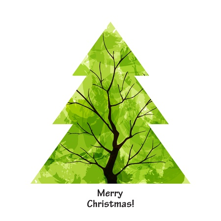 Colour Christmas tree on white background. EPS10 Vector