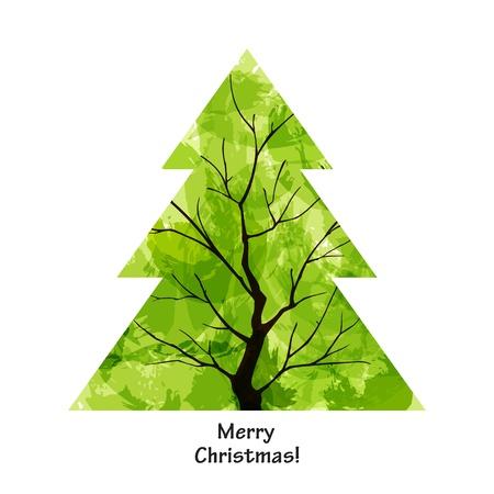Colour Christmas tree on white background. EPS10