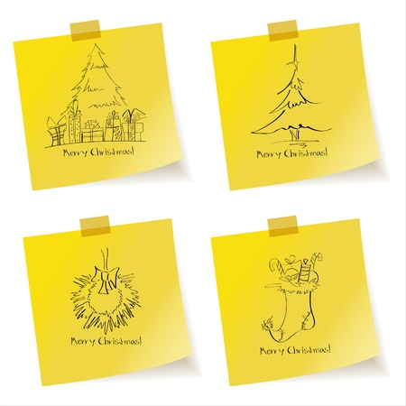 Yellow sticky note paper with Christmas sketches Vector