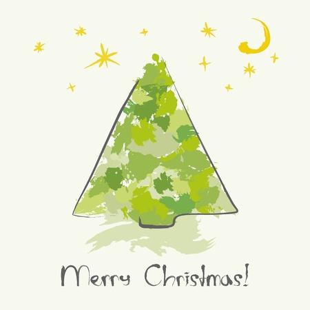 Christmas card with ink Christmas tree Vector