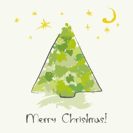 Christmas card with ink Christmas tree Vector
