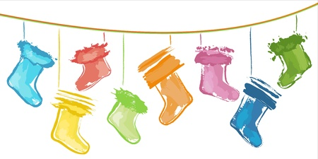 Sketchy colour Christmas stockings on strings  Vector