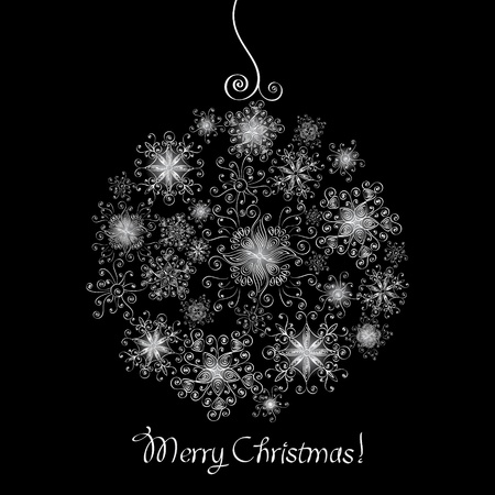 Black and white Christmas ball made of snowflakes Vector