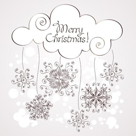 Retro Christmas background with snowflakes Illustration