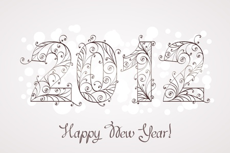 Happy new year 2012, floral pattern Stock Vector - 11348864