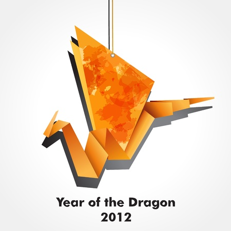 Origami dragon made of pieces of orange and colour paper. EPS10 Vector