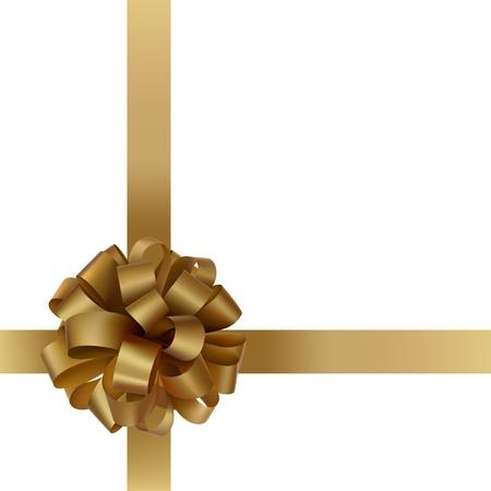 fiocco oro: Regalo arco d'oro con un nastro su sfondo bianco