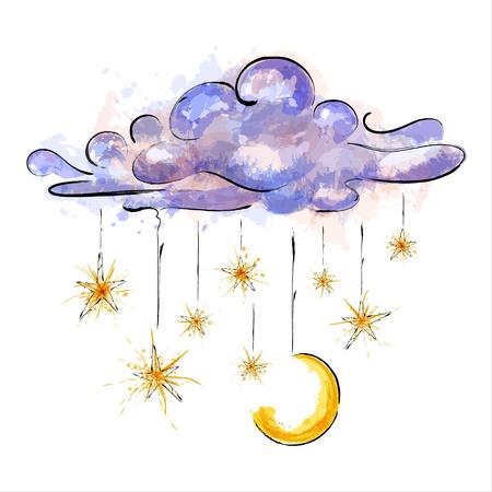 luna caricatura: Ilustraci�n de la que cuelga la luna y las estrellas. EPS10 Vectores