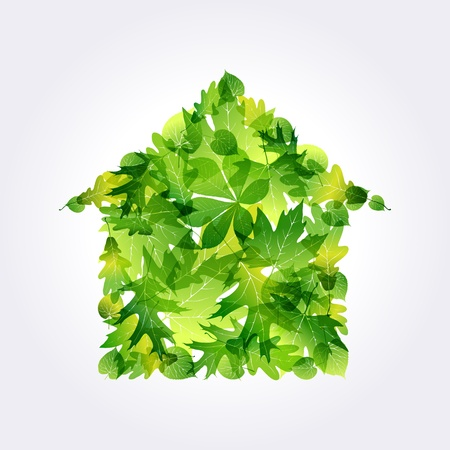Green Eco house icon made of leaves. EPS10 Vector