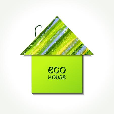 casa logo: Colore della carta eco casa logo. EPS10