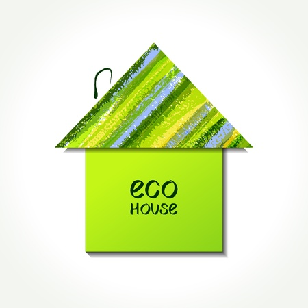 Colour paper eco house logo. EPS10 Vector