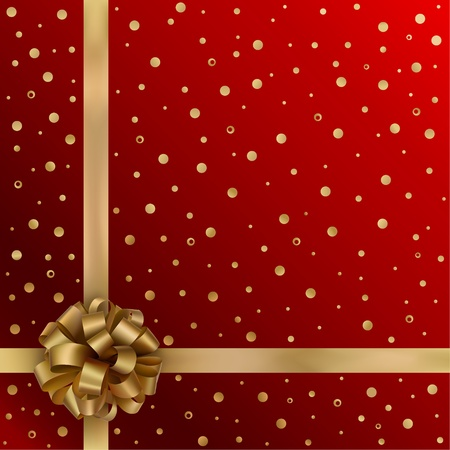 christmas bow: Gold festive ribbon with bow on red background