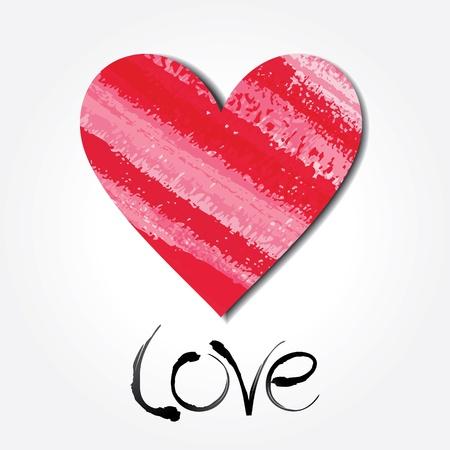 aquarel: Colour paper heart with inscription love