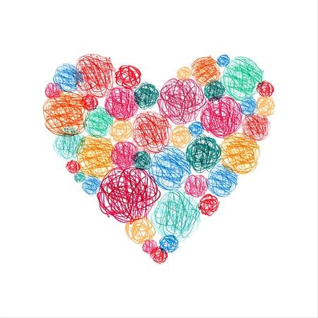 dattel: Fr�hlich bunte dekorative Herzen aus clews. Illustration