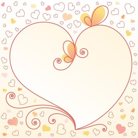 animalitos tiernos: Romántico-floral-fondo-con-corazón con un lugar para el texto