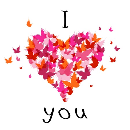 Lettering stylish text I love you with butterfly. EPS10 Illustration