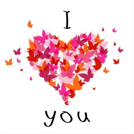 femme papillon: Texte lettrage élégant Je t'aime avec le papillon. EPS10 Illustration