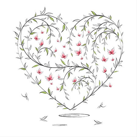Valentine heart in floral style on white background Illustration