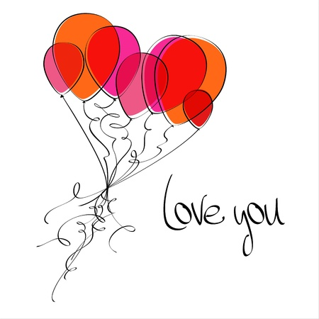 Flying balloons in the shape of a heart. Love you.  Vector