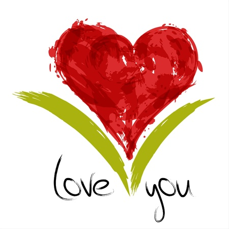 Red painted heart with inscription: love you.