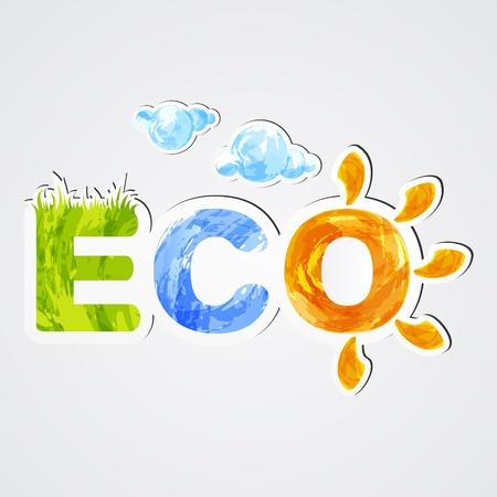 healthy living: Environmental icon eco. Stickers. EPS10