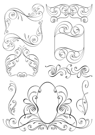 Calligraphic design elements and page decoration. All elements are separate.