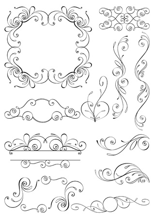 ornamental scroll: Calligraphic design elements and page decoration. All elements are separate.
