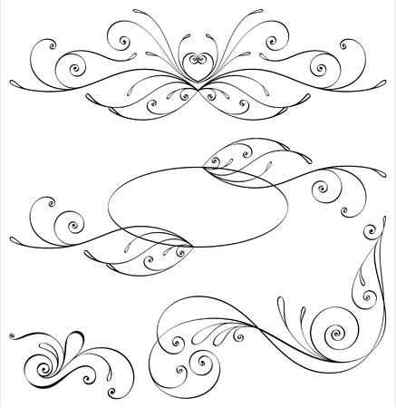 Elementi di design e decorazioni calligrafiche pagina. Tutti gli elementi sono separati.
