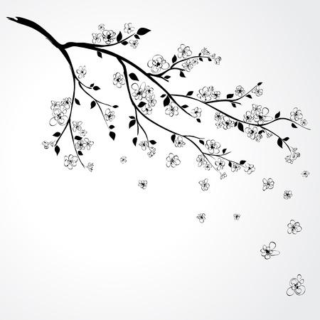 Illustratie van bloeiende tak van Sakura met vlag en bloemblaadjes Vector Illustratie